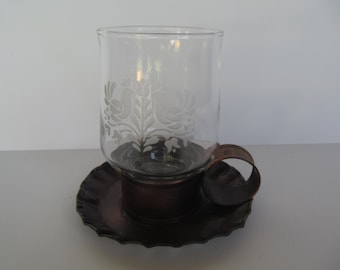 Coppercraft Guild Candle Holder - with Edged Glass