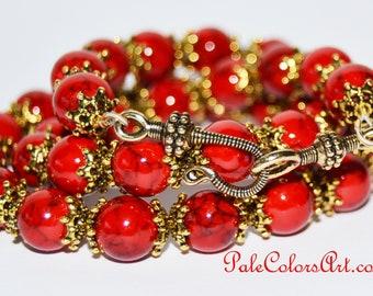 Red Jade Necklace,10mm Red Jade Necklace,Red Stone Necklace,Red Stone with Gold Bead Caps Necklace, PaleColorsArt.com