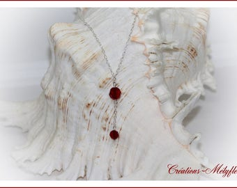 Pretty silver and Red Swarovski Crystal pendant necklace