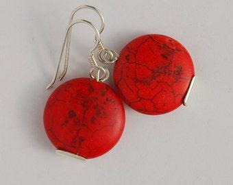 Earrings Red Howlite Sterling silver Drop Earrings setting marbled red bead black veining one inch