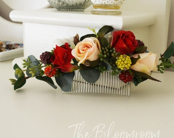 Flower comb, Red rose, Berries, Peach rose, Silk flower hair comb, Bridal hair comb, Gift for her, Wedding flower comb, Hair accessories