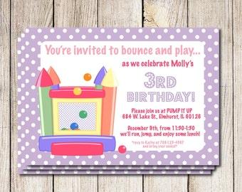 Bounce house invitation, jumpy house invitation, bouncy house birthday party, printable birthday party invitation, bouncy castle party