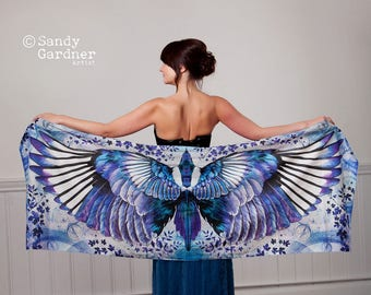 magpie, wing scarf, magpie, bohemian scarf, sarong, fairy wing, Scarf, magpie Scarf, angel wings, Winged scarf, winged shawl, bird scarf