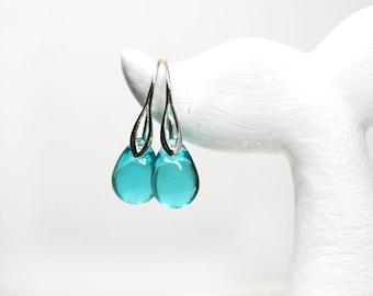Mermaid tears jewelry Teal drop earrings Mermaid earrings Sterling silver dangle earrings Teal glass beach jewelry by MayaHoney