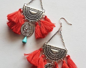 Handmade earrings with tassels  Tassel earrings Tassel jewerly Boho earrings Bohemian Ethnic earrings Boho jewerly Gypsy chandelier earrings