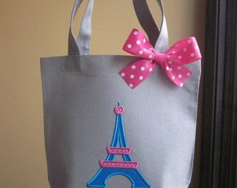 TOTE BAG Paris Eiffel Tower Personalized Toddler or Big Kid Tote