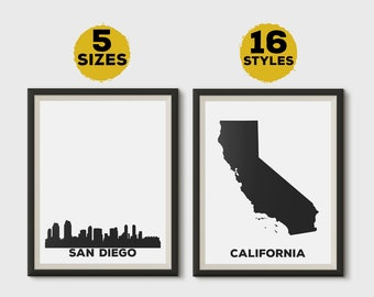 San Diego California poster, San Diego California print, San Diego California wall art, City skylines, State maps, Travel gift, Set of 2