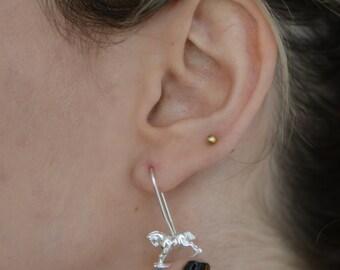 Rocking Horse Gold Earrings , Carousel Earrings , 14K White Gold Horse Earrings , Tiny Dangle Earrings , Childhood Memories