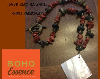 Boho Genuine Red jasper with Himalayan Riverstone and shell pendant