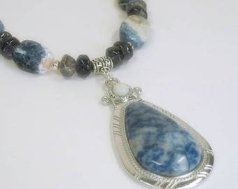 Sale| Sodalite Necklace and Pendant, Gemstone Necklace, Iolite, Water Sapphire, Blue Gemstone Necklace, Sodalite Pendant, Sterling Silver