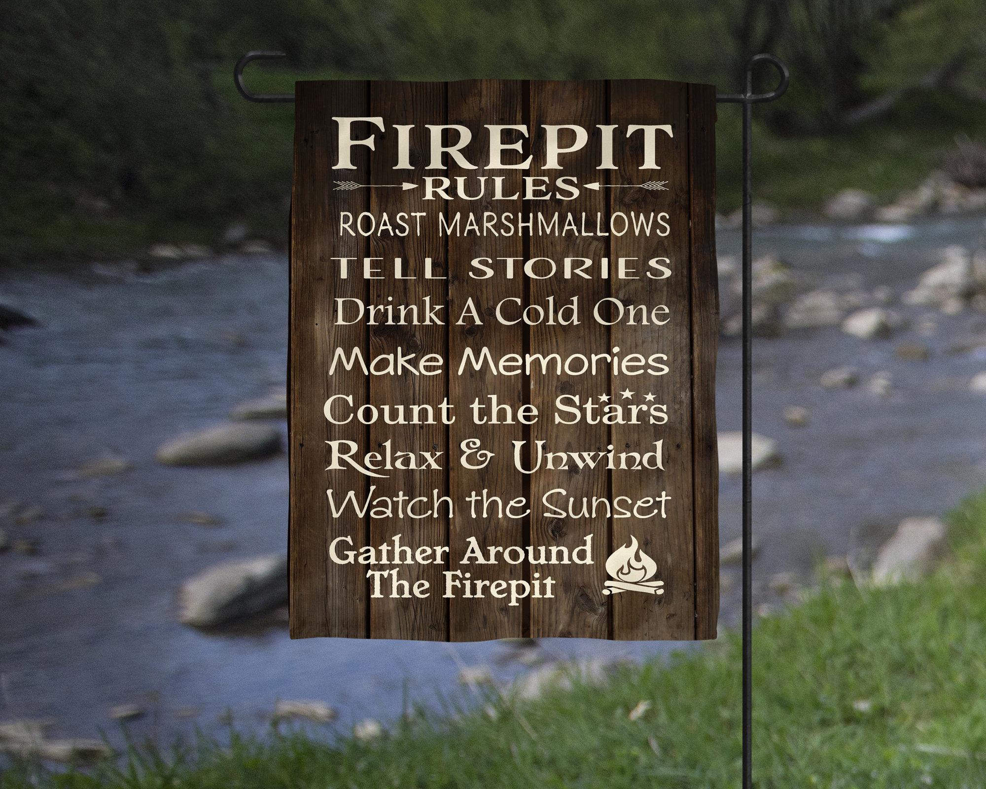 Firepit Rules Garden Flag - Cabin, Backyard Decor Christmas Gift ...