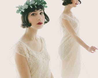Boho wedding dress, Lace bridal gown, Sheer lace dress, Ivory lace dress, White lace dress, Elopement dress, Drop waist, simple boho gown