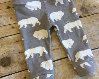 SALE! Newborn organic baby leggings - baby boy cuffed pants - baby gift - gender neutral baby - bear print pants - ready to ship
