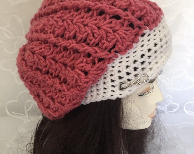 Slouchy Crocheted Hat-Womens Warm Hats-Accessories -Newsboy Hats-Pink Hats-Love Jewels-Winter Hat-Fall hats