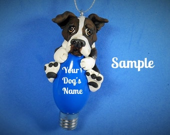 Dark brown brindle & white Pit Bull Terrier Santa Dog Christmas Light Bulb Ornament Sally's Bits of Clay PERSONALIZED FREE with dog's name