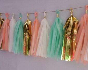 Peach and Mint Green Wedding Tassel Garland,  20 Tassel Tissue Paper Garland, Paper Party Decorations, Tissue Tassels, Happy Birthday Party