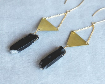 Black Agate with Brass Triangle Earrings