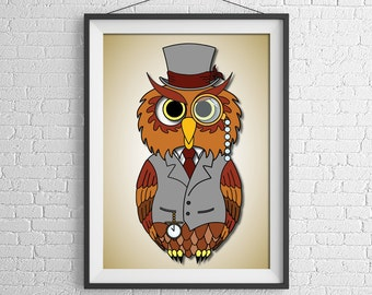 Owl Illustration Poster