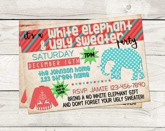 Ugly Sweater Invite Etsy - White elephant christmas party invitations templates