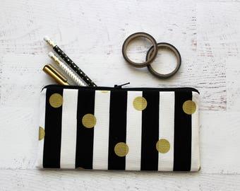 Striped pencil pouch - zipper pouch - pencil bag - gold pencil case - black and white - pen pouch - planner bag - bujo bag - makeup bag