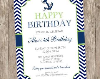 Chevron nautical birthday invitation, nautical birthday, anchor invitation, boys birthday lime green, navy, anchor, nautical, digital file