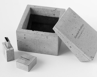 Gift a concrete box with concrete USB flash drive 16 GB inside. Unique packaging for the work of photographer and videographer. Personalize.