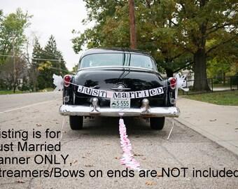 Just Married Banner / Wedding Garland / Getaway Car Sign / Rustic / Wedding Couple Photo Prop/ Wedding Reception Decoration