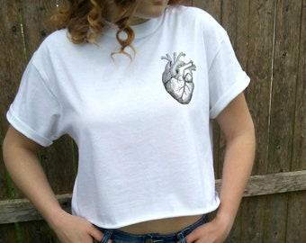 ANATOMICAL HEART pocket t-shirt print graphic shirt tee women tumblr pinterest instagram Tee Shirt gray or white, crop tee, crop top.