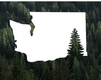 Washington State Evergreen Silhouette Vinyl Decal   Car Decal   MacBook Decal   Water Bottle Decal   Yeti Decal   PNW   Washington Evergreen