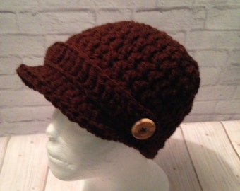Crochet Newsboy Hat - Newsboy Cap - Baseball Hat - Newsboy Hat -News Boy Hat - Coffee Hat - Brown Hat - Birthday Gift - Warm Hat