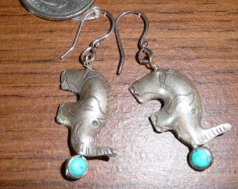 Silver Elephant Earrings with turquoise