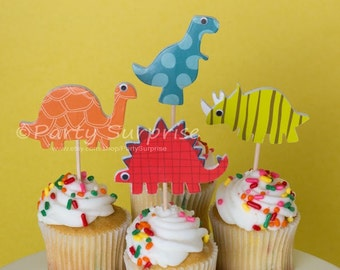 Dinosaur Cupcake Toppers, Kids Party Cupcake Toppers, Dinosaur Party Decorations, Dinosaur Cake Toppers