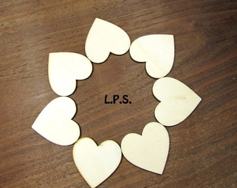 1 1/2 x 1 1/2 Inch Unfinished Wooden Hearts. Small Wooden Hearts. Derivative Wooden Hearts. 24 To A Bag.