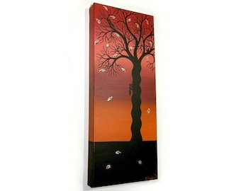 Autumn Tree with Squirrels Silhouette Art - original acrylic painting of abstract black tree on red and orange background, tall canvas art