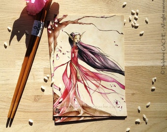 Carte postale thème féerique - L'elfe japonaise - Illustration Delphine GACHE
