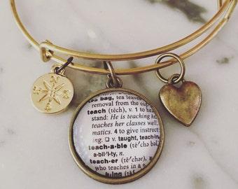 Teacher charm necklace teacher necklace teach necklace teacher appreciation charm bracelet personalized definition jewelry teacher gift graduation compass mozeypictures Gallery