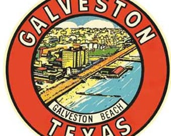 Vintage Style Galveston Texas Travel Decal sticker