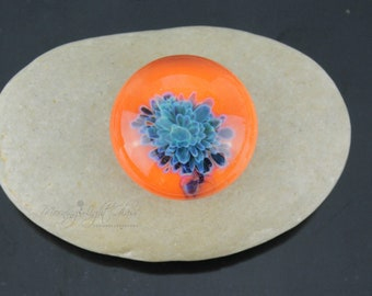Bold Orange Blue Bouquet Lampwork Glass Cabochon - Jewelry Making Supply - 25mm