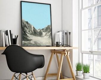 Mountain Print, Winter Print, Landscape Art, Blue Wall Art - Blue Skies