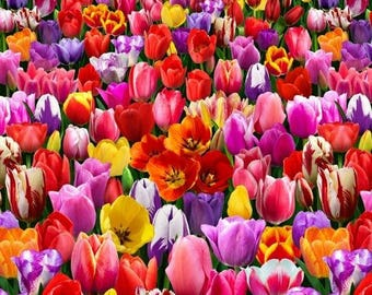 """New Tulip Fabric, Floral Fabric: Elizabeth's Studio Nature Tulips Field  100% cotton Fabric by the panel 23""""x44""""  ES60"""