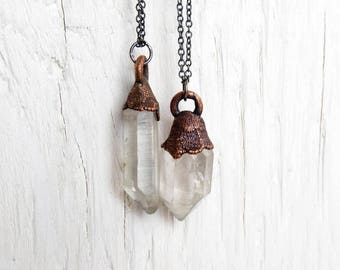 Crystal Necklace - Electroformed Quartz Crystal Pendant - Layering Necklace - Oxidized Sterling Silver