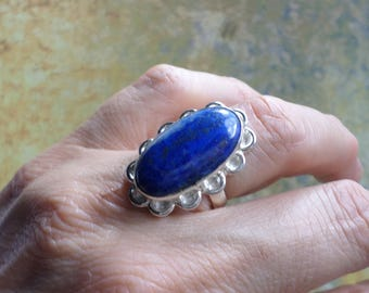 RING 925 sterling silver and LAPIS Lazuli (BA102)