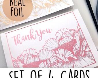 Real Foil Thank you Cards- SET OF 4- Foil Cards- Thank you Cards- Set of Greeting cards