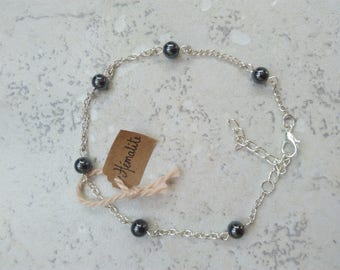 Bracelet, chain anklet, Hematite and silver, hippie chic, Crystal healing