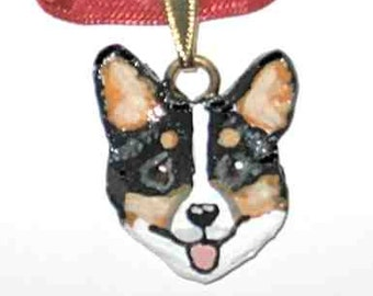 Hand-Sculpted WELSH CORGI Smiling Face Handpainted Clay Art Necklace/Pendant CHOOSE Red/White or Tri-Color Corgi