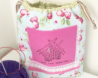 Knitting project bag / just one more row drawstring knitting project bag