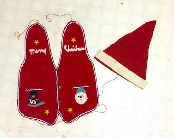 Vintage Ugly Christmas Vest and Hat, Felt