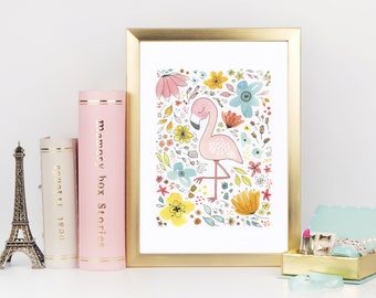 Pretty Pink Flamingo Watercolor Art Print with Flowers for Children's Room and Nurseries - Wall Art and Home Decor - Painting for Children
