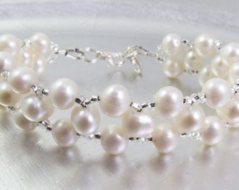 Cream Freshwater Pearl Bracelet or Medical ID Bracelet or Interchangeable Watch Band