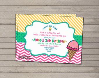 Ice Cream Themed Birthday Invitation